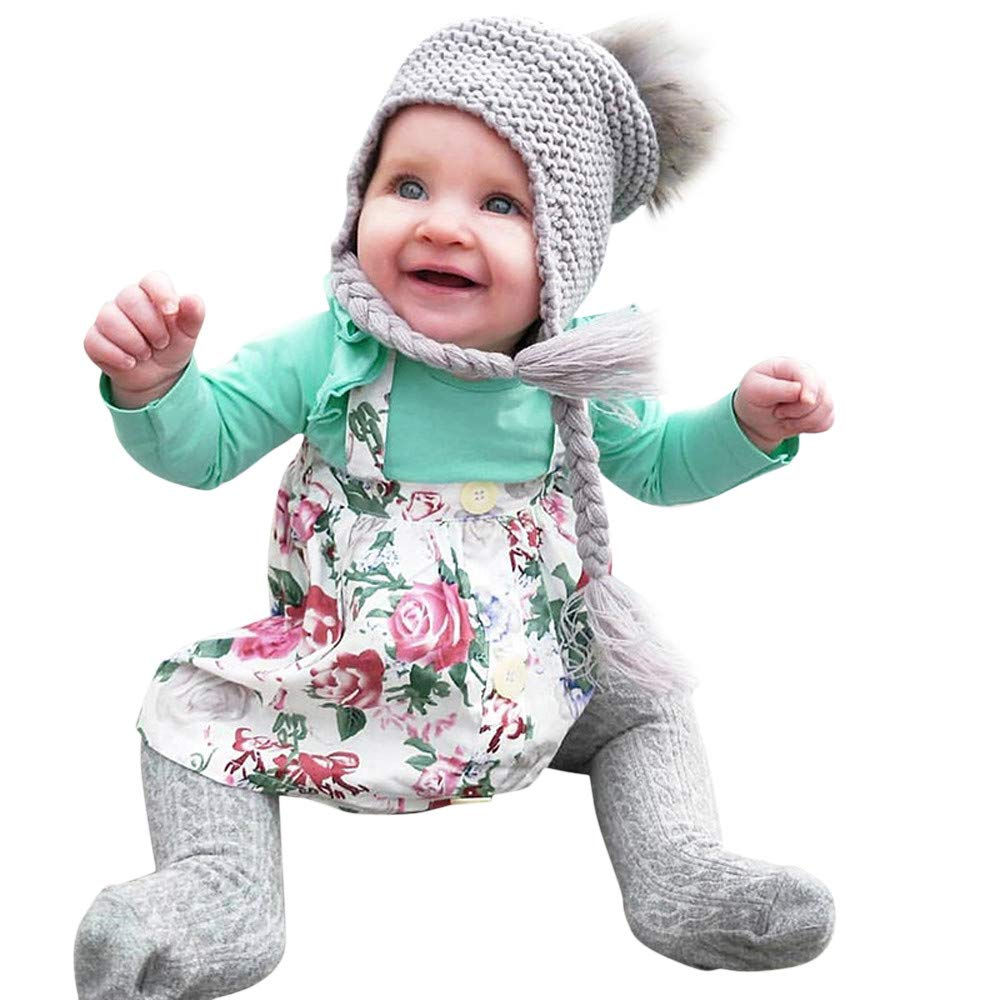 f0fdcdfbc9c Amazon.com   Toddler Infant Baby Girls Solid Ruffle Tops Floral Strap Skirt  Clothing Set Long Sleeves Jumpsuit Romper Children Kids Climb Suit For  Children ...