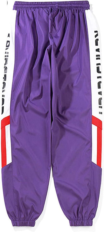 Vintage Side Stripes Printed Track Joggers Pants Mens Hip Hop Color Block Patchwork Red XL