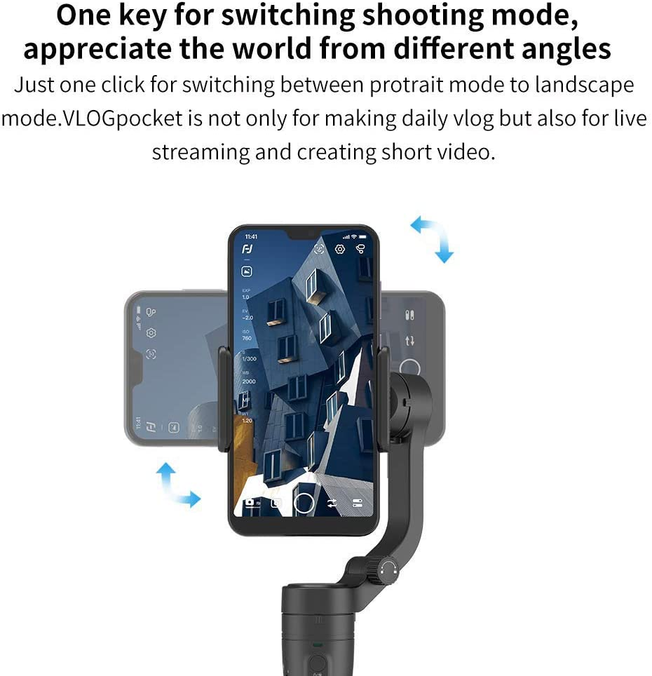 Foldable Pocket Head Portable 3-Axis Smartphone Gimbal Stabilizer for iPhone Android,Black Horizontal and Vertical Shooting VLOG Pocket Handheld Stabilizer Gimbal