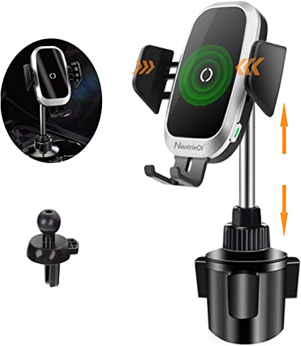Car Cup Wireless Charger Holder,10W Qi Fast Charging Auto-Clamping Car Phone Charger Mount Compatible with iPhone11//11Pro//11Pro Max//XS Max//XS//XR//X//8//8+,Samsung S10//S9//S8//Note10//Note9,LG,Google Pixel