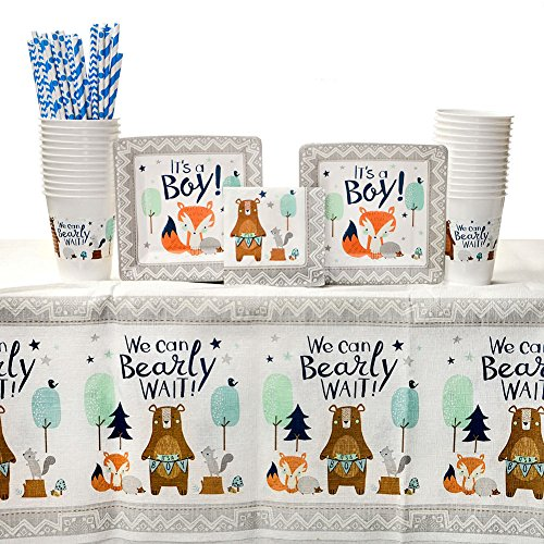 - Bear-ly Wait Party Supplies Pack for 16 Guests: Straws, Dessert Plates, Beverage Napkins, Table Cover, and Cups