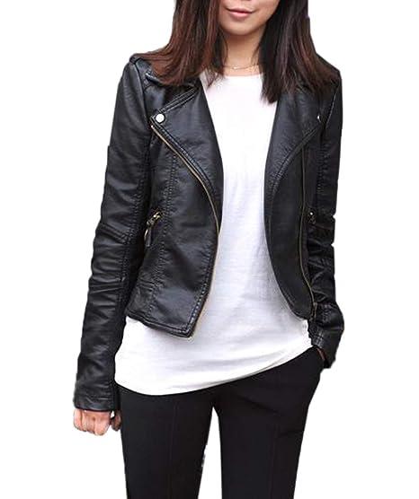 Primavera y Otoño Mujer Cuero Chaquetas Moda Manga Larga Ropa de Abrigo Tops Outwear con Cremallera Slim PU Corto Jacket de Moto Coat Cazadora Remata: ...
