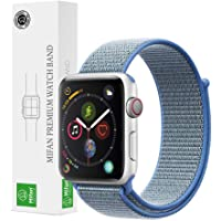 Mifan Official Nylon Loop Band for Apple Watch 44mm/42mm Series 1/2/3/4 Premium Strap Replacement Mesh Soft Breathable Woven Sports Wristband Bracelet Lake Blue