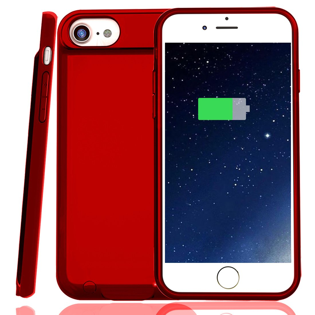 Battery Case for iPhone 7/8, XchuangX 3000mAh Rechargeable Protective Charging Case Slim for Apple iPhone 7/8 (4.7 inch), Support All Types Headphones, Answer Call and Sync-Through-Red