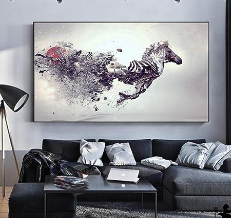 Startonight Quadro su Tela Galoppo Due Cavalli Bianchi Grandi Quadri Animali Moderni Stampe Camere da Letto 80 x 120 cm