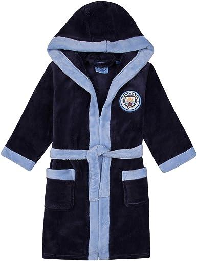 Boys Official Man City MCFC Hooded Fleece Dressing Gown Bathrobe 3 to 12 Yrs