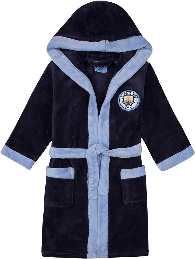 Manchester City FC Geschenk f/ür Fu/ßballfans Jungen Fleece-Bademantel mit Kapuze Offizielles Merchandise