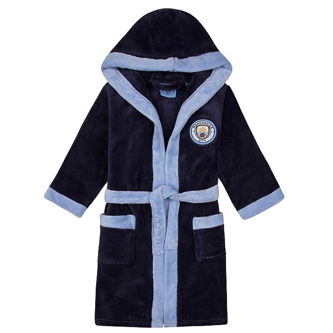 Manchester City FC - Batín Oficial con Capucha - para niño - Forro Polar - Azul