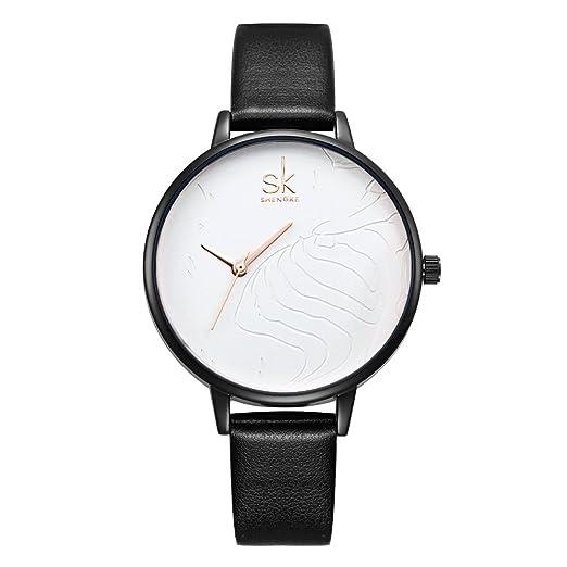 Amazon.com: SK Women Watches Leather Band Luxury Quartz Watches Girls Ladies Wristwatch (TT WE Black): Watches