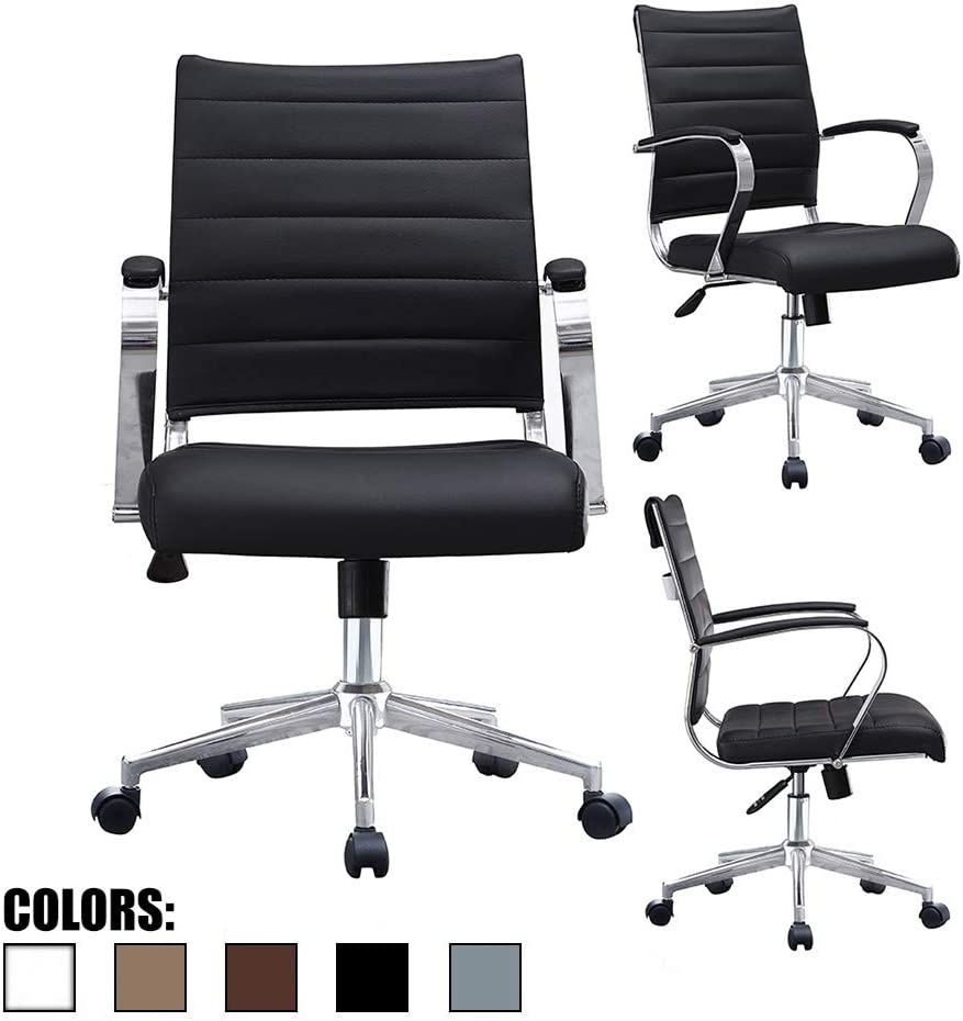 2xhome – Black- Modern Mid Back Ribbed PU Leather Swivel Tilt Adjustable Chair Designer Boss Executive Management Manager Office Chair Conference Room Work Task Computer Black