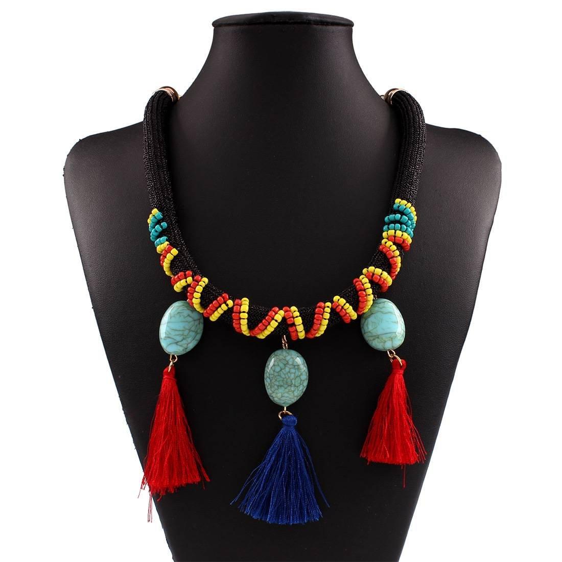 Moda Hipoalergénica Bohemia Étnica Cuerda Tejida a Mano con Cuentas de Borla Collar de la Joyería Accesorios , Como se muestra