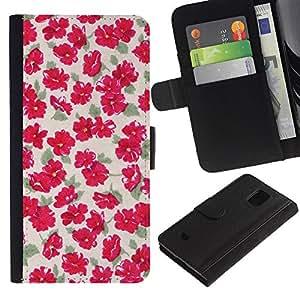 LASTONE PHONE CASE / Lujo Billetera de Cuero Caso del tirón Titular de la tarjeta Flip Carcasa Funda para Samsung Galaxy S5 Mini, SM-G800, NOT S5 REGULAR! / Green Beige Floral Flowers Pattern