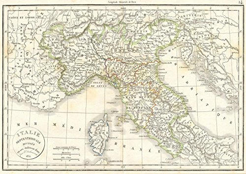 - Historic Map | Delamarche Map of Northern Italy and Corsica, 1832 | Historical Antique Vintage Decor Poster Wall Art | 16in x 24in
