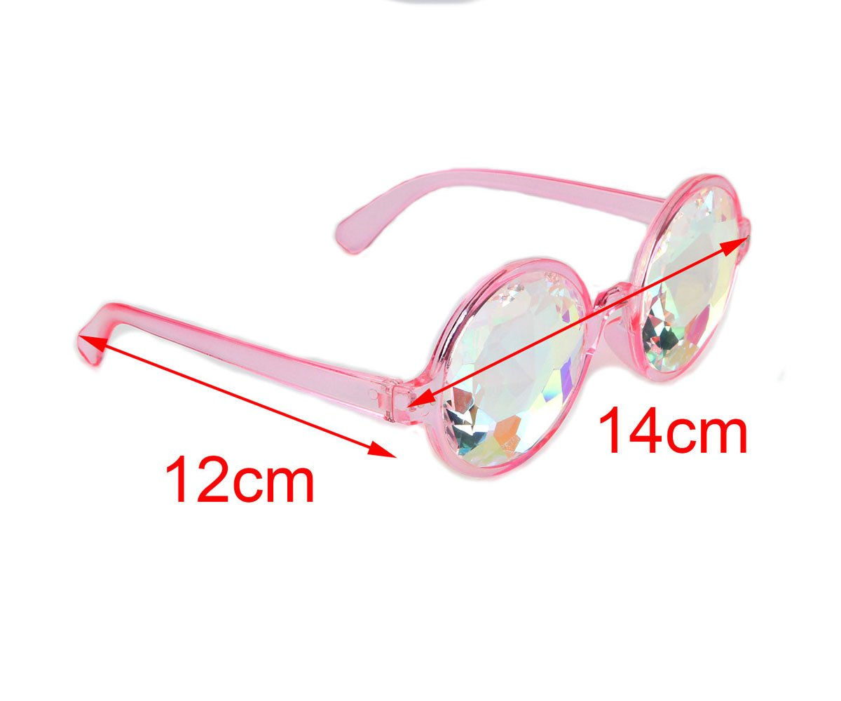 DODOING Festivals Kaleidoscope Glasses For raves - Goggles Rainbow Prism diffraction Crystal Lenses (One Size-Adjustable Head Band, Black+Pink) by DODOING (Image #6)