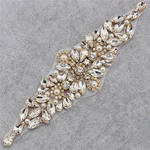 XINFANGXIU Rhinestone Wedding Dress Applique Patch for Bridal Sash Belt - (Easy Plus Size Costumes)