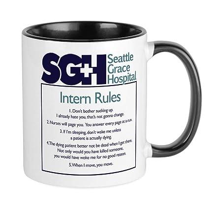 26c3dd262ac CafePress Grey's Anatomy Intern Rules Unique Coffee Mug, Coffee Cup
