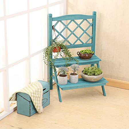 8c1776f5606 Flower Stand American Garden Solid Wood Flower Stand Mediterranean Blue  Shelf Indoor Balcony Flower Stand (Shape : B): Amazon.co.uk: Kitchen & Home