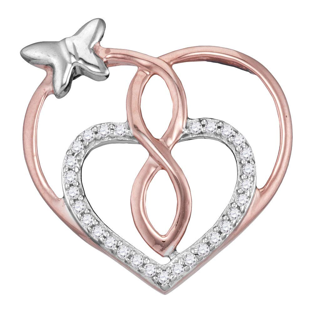 Rose-tone Sterling Silver Womens Round Diamond Heart Butterfly Pendant 1//10 Cttw