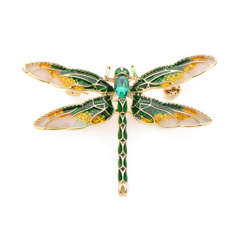 YHDBH Green Purple Enamel Dragonfly Insects Brooches Pin For Women And Men Alloy Metal Banquet Weddings Brooches Pins Gifts
