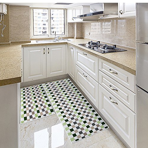 Eanpet Kitchen Rugs Sets 2 Piece Kitchen Floor Mats Non-Slip Rubber Backing Area rugs for kids Carpet Runner Rug Non-skid Kitchen Door Mats Inside Rug Pad Sets- 18
