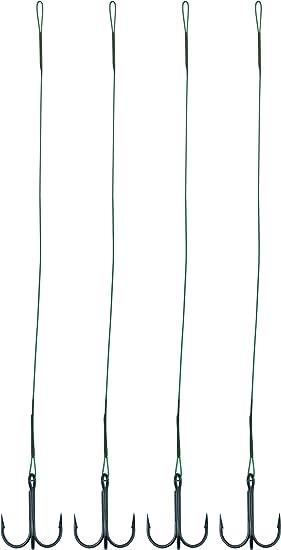 2 x Stahlvorfach 40cm mit Drilling #4 und Wirbel #5 Hechtvorfach 2,40 EUR//St.