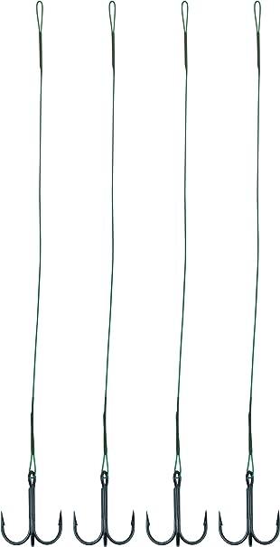 Stahlvorfach mit Drilling Hecht Zander Barsch Raubfischvorfach 4 Stück Länge40cm