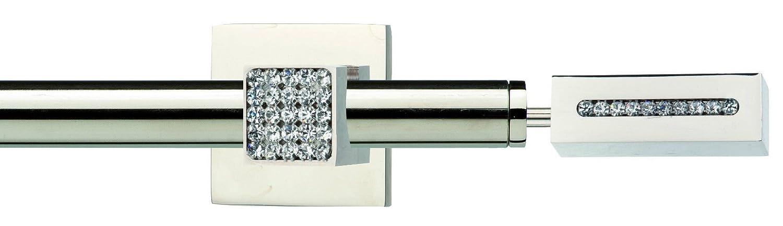 Bastone Tenda Acciaio Cromato con Supporti E FINALI Swarovski Design L.160 per TENDAGGI Moderni CASA FIORENTINA