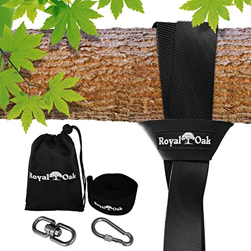 EASY HANG (4FT) TREE SWING STRAP X1 - Holds 2200lbs. - Heavy Duty Carabiner - Bonus Spinner - Perfect for Tire and Saucer Swings - 100% Waterproof - Easy Picture Instructions - Carry Bag Included! (Hanger Swing Outside)