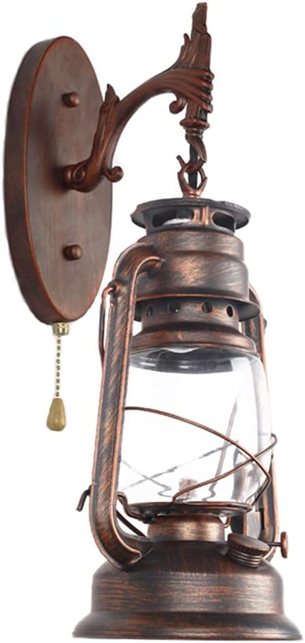 Pull Chain Switch Kerosene Lantern Wall Lamp Retro Bedroom Bedside Wall Sconces Iron And Glass Shade Restaurant Bar Color Red Bronze Amazon Com