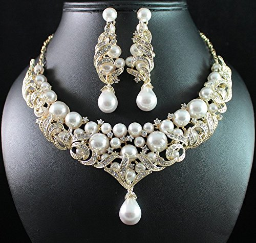 1940s Costume Jewelry: Necklaces, Earrings, Brooch, Bracelets Janefashions Victorian Style Pearl Austrian Rhinestone Necklace Earrings Set Bridal N1773g Gold $24.99 AT vintagedancer.com