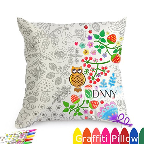Forest Fastness DIY Graffiti Decorative Coloring Pillowcase Pattern, 18 Inch Square with A Set of 12 Doodle Color Pens