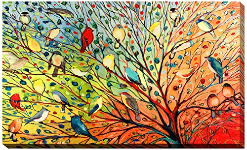Picture Perfect International ''27 Birds'' by Jennifer Lommers Giclee Stretched Canvas Wall Art, 28'' x 48'' x 1.5'' by Picture Perfect International