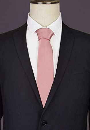 3eca96e60469 Image Unavailable. Image not available for. Colour: Blush Dusky Pink Skinny  Tie ...