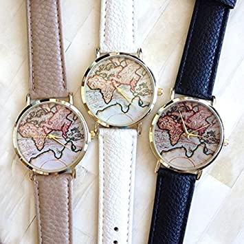 Blazers18 white world map leather watches quartz wristwatch blazers18 white world map leather watches quartz wristwatch gumiabroncs Images