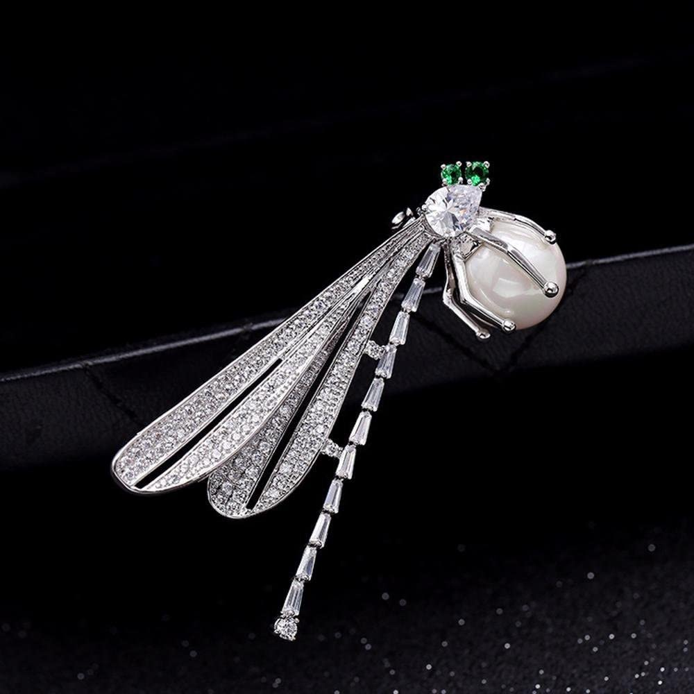 MAFYU Brooch Lady Pearl Brooch Micro-Inlaid Zircon Dragonfly Corsage Christmas Clothing Accessories