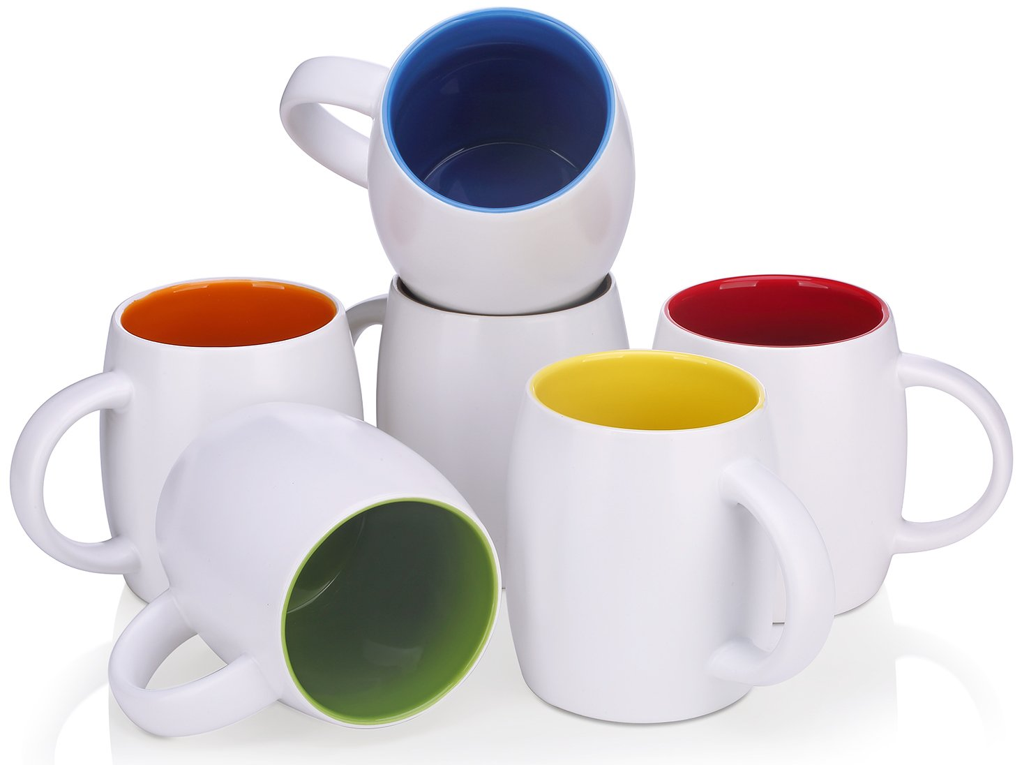 DOWAN 14 Ounce Mug Sets for Coffee/Tea/Cocoa, 6 Piece White Ceramic Mugs with Multi Inner Colors - Microwave, Dishwasher and refrigerator Safe