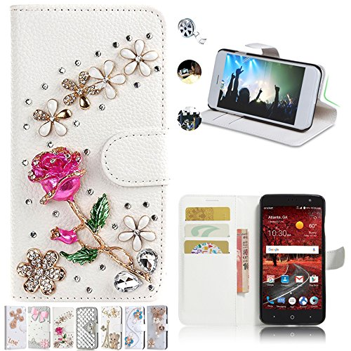super popular ace96 3807e ZTE Grand X4 Z956 Cases, AMASELL Glitter Bling Diamonds [Stand View] PU  Leather Flip & Card Slots Holder and Money Pocket Folio Wallet Cover Shell  for ...
