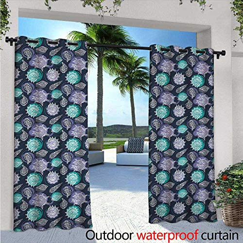 Nautical Exterior/Outside Curtains W84 x L96 Ocean Theme Seashells Scallop Summer Marine Coastal Grunge for Patio Light Block Heat Out Water Proof Drape Lavender Sea Green Night Blue