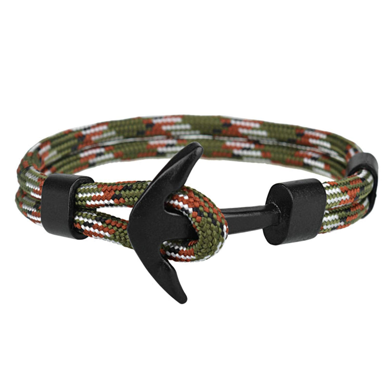 Nerefy Couple Bracelets Alloy Anchor Bracelets Bangles Braided Polyester Rope Bracelets Gifts