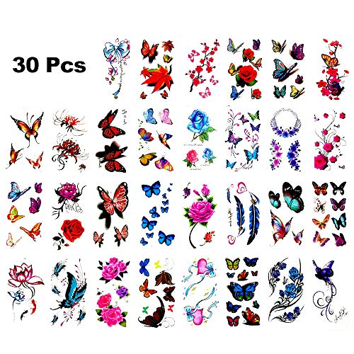 30 Sheets 3d Colorful Temporary Tattoo Stickers with Butterfly Flower Design and Premium Waterproof, Non-Toxic Body Painted Tattoo Stickers Art Decal Removable. (D)