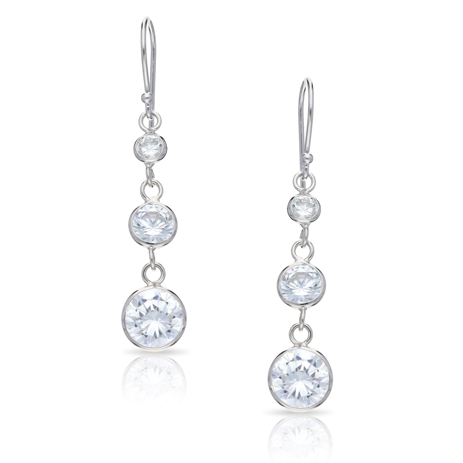 Round Crystal Triple Drop Earrings Never Rust 925 Sterling Silver Natural and Hypoallergenic Hooks For Women and Girls with Free Breathtaking Gift Box for Special Moments of Love By BLING BIJOUX
