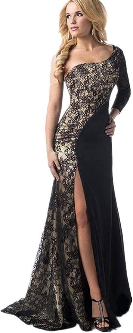 Kleid Damen Kolylong® Frauen Elegante Spitze trägerlos Kleid Split Kleid lang Cocktail Party Kleid rückenfrei Strandkleid Abendkleid Kleid der Brautjungfer