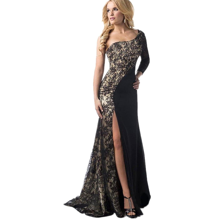 kleid damen Kolylong® Frauen elegante Spitze trägerlos Kleid Split ...