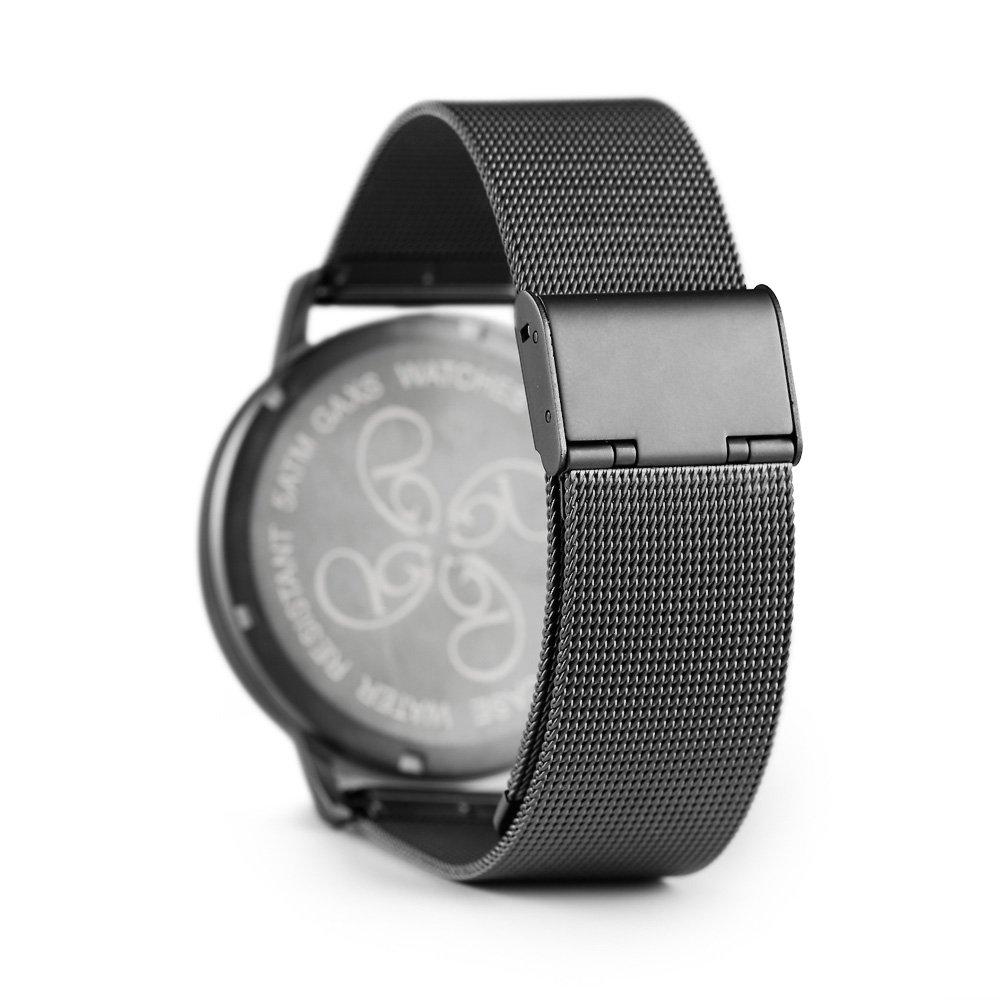 f7f22f802857 gaxs Watches Jordan Hombre Reloj de pulsera Negro con malla acero  inoxidable gris mate  Amazon.es  Relojes