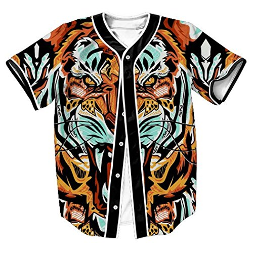 HOP FASHION Youth Unisex Hipster Baseball Basketball Football Jersey Short Sleeve 3D Tiger Print Dance Team Uniform Button Down Cardigan Shirt HOPM007-59-M