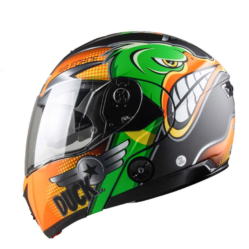 Orangevert Medium PQ&D Casque Cool de Course Tout-Terrain, au cœur des Droits de l'homme Casque de compétition pour Motocycliste Route, Noir - Vert,Orangejaune,XL