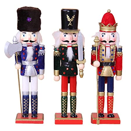 set of 3 wooden christmas nutcracker premium festive christmas decor wooden soldier puppet - Christmas Decorations Wooden Soldiers