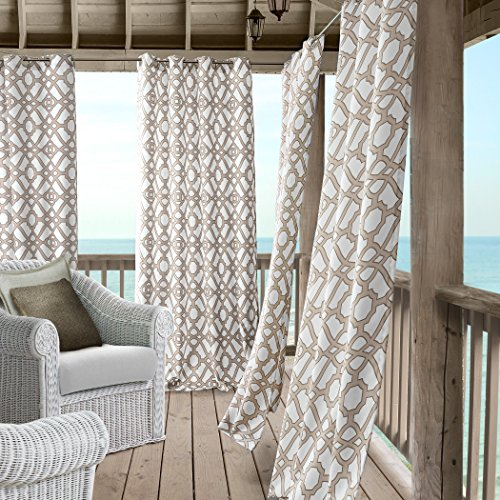 Cheap  Marin Contemporary Print Indoor/Outdoor Grommet Top Single Panel Window Curtain, Lattice Ironwork..