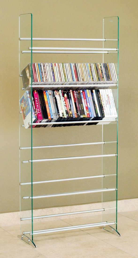 TransDeco Glass Multimedia CD/DVD Rack, Clear