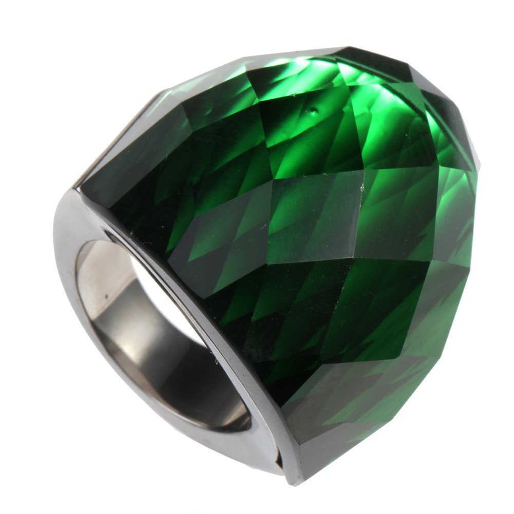 Oakky Women's Stainless Steel Simple Big Shiny Gemstone Wide Wedding Band Ring Silver Green Size 9 by Oakky
